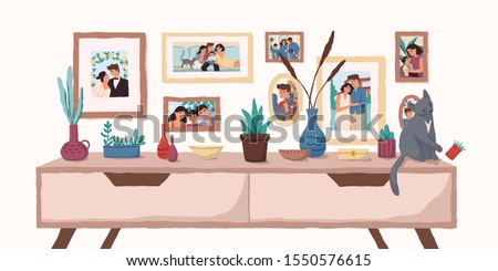 family portraits on wall flat