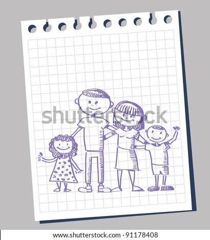 family posing sketch on note paper