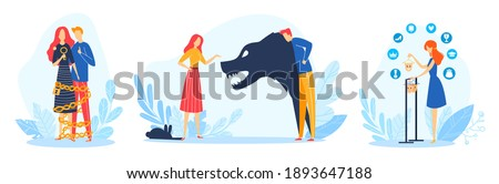Family problems vector illustration set. Cartoon flat family or couple people in conflict or abusive conflicting relations, angry husband abuse wife, bad problematical relationship isolated on white Photo stock ©
