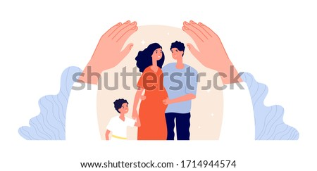 Family protection. Children adult support, patient protected. Hand hug people. Pregnant woman, father and mother. Parenthood vector concept