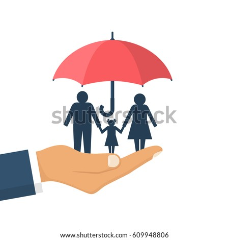 Family protection. Insurance concept. Vector illustration flat design. Isolated on white background. Paper chain people. Agent hold umbrella hand protects the family. Health care, safety. helping.