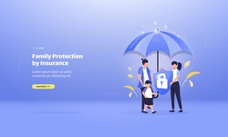 Family protection with insurance, illustrations with health care concept