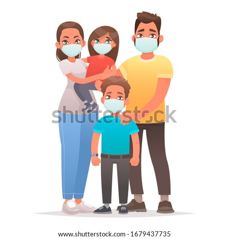Family quarantined. Coronavirus protection. Dad, mom, son and daughter are wearing medical masks on their faces. Vector illustration in cartoon style