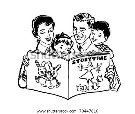 Family Reading Book - Retro Clipart Illustration