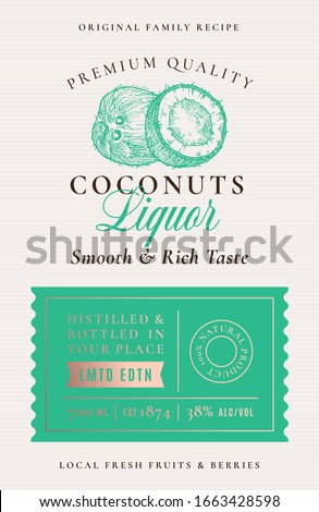 Family Recipe Coconut Liquor Acohol Label. Abstract Vector Packaging Design Layout. Modern Typography Banner with Hand Drawn Coconuts Silhouette Logo and Background. Isolated.