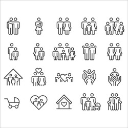 Family Relationship Icons -  Line Series stock illustration. Family, Relationship, Child, Togetherness, Two Parents, Wife, Young Family