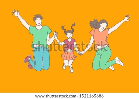 Family, relationships, leisure concept. Young happy mom dad and daughter in a good mood jumping on the trampoline holding hands. Close relationship celebration, delight. Vector flat design.