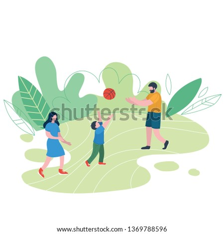 Family relaxing in nature in a beautiful urban park. Flat figures of human walking outdoors. Outdoor activities