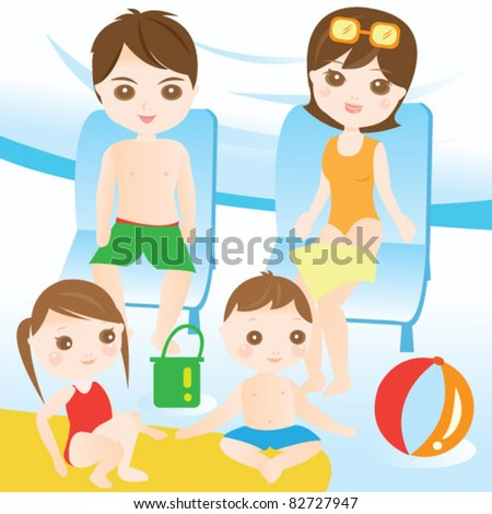 Family resting at the seaside - stock vector