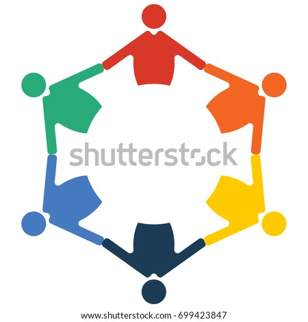 Family Reunion or Diversity group or community. Round table and diverse people teamwork cooperation circle symbol. Great as cultural and racial diversity partnership promotion.
