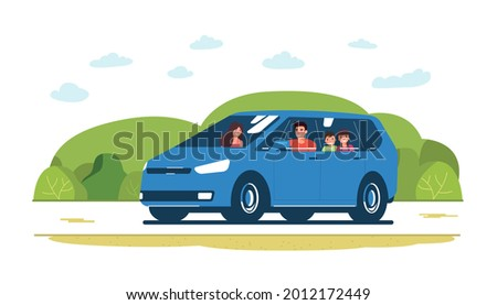 family rides in a minivan car