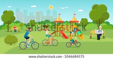 Family riding a bicycle Grandfather sitting on the bench and reading newspaper Young man sitting on the bench and working with laptop and Running girl in the park. Playground. Vector flat illustration - Shutterstock ID 1046684575