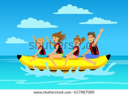 family riding banana boat