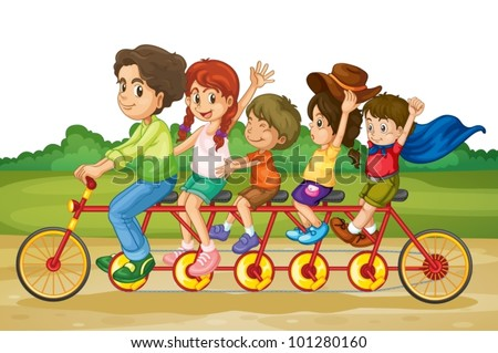 Family riding on same bike in park