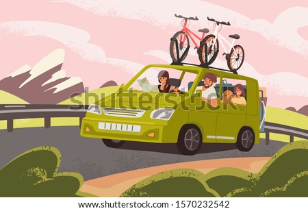 Family road trip on camper car flat vector illustration. Family couple with kids and dog going on vacation. Bicycles attached to top of green automobile. Cartoon characters travelling in auto.