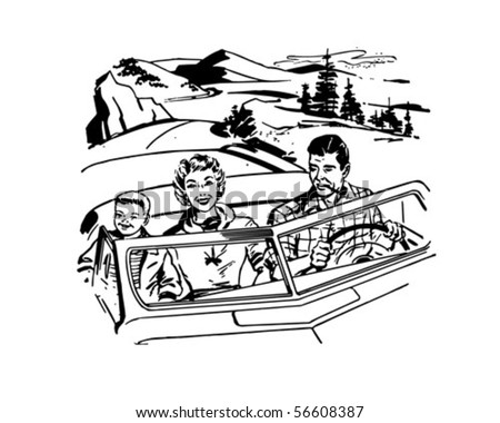 Family Road Trip - Retro Clip Art