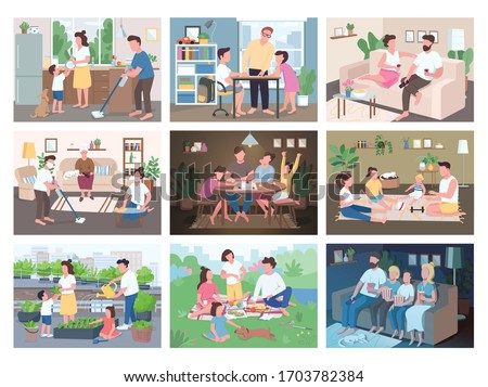 Family routine flat color vector illustrations set. Entertainment for parents and children. Mother and father do chores with kids. Children play games. Relatives 2D cartoon characters