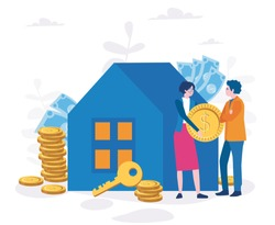 Family saves money and buy house, Achieve Goal. Financial stability. Agent of real estate, Home Loan concept, Rent, Buying a property. Real estate, investment, mortgage, house loan, account