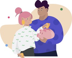 Family Saves Money. Man and woman hold piggy bank and put money into it. Financial stability, cash savings. Concept of family or household budget, financial planning, money managing.