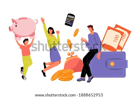 Family saving money and putting coins in Piggy bank. Home budget and family finance planning, income and expenses calculation. Target money savings, flat vector illustration isolated on white.
