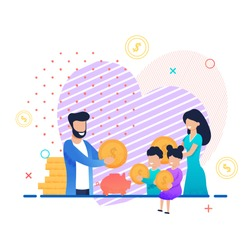 Family Saving Money. Mother, Father, Son and Daughter Putting Gold Coins in Piggy Bank Together. Home Budget Planning. Income and Expenses. Target Money Savings. Vector Cartoon Flat Illustration