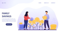 Family Savings and investment concept with a young couple planting and watering money plants with gold coins, colored vector illustration