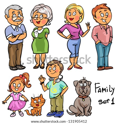 Family - set 1, Hand drawn comic family members isolated, sketch