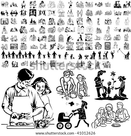 Family set of black sketch. Part 8-2. Isolated groups and layers. - stock vector