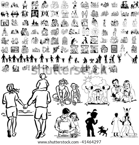 Family set of black sketch. Part 8-3. Isolated groups and layers. - stock vector