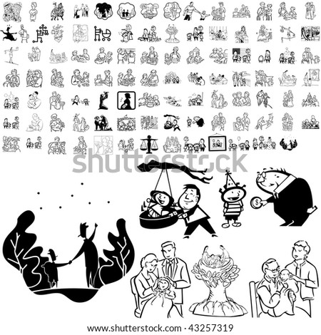 Family set of black sketch. Part 5-9. Isolated groups and layers.