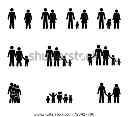 family set of icons, stick figure man and woman, girls and boys isolated pictograms vector