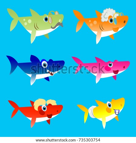 Family shark set of colorful cartoon fish character isolated on blue background. Baby, Mama, Papa, Grandma, Grandpa and Sister Shark.