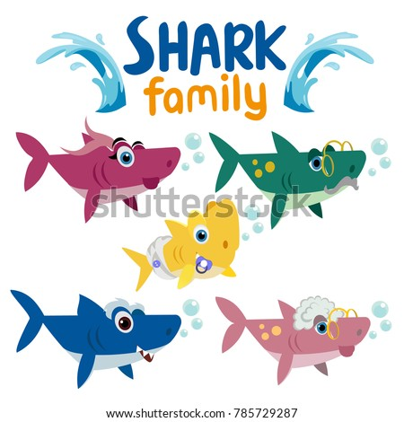 family shark set of colorful