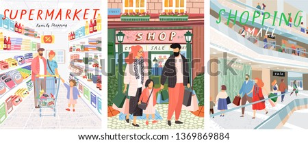 Family shopping. A vector illustration of people in a store shopping, handwritten drawings in the supermarket and in the mall.