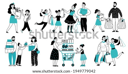 Family shopping. Consumer buy in supermarket, people running to shop. Women consume, shopper with cart buying decent goods vector characters Foto d'archivio ©