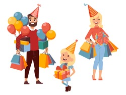 Family shopping for birthday presents, vector illustration. Young mother and father buying gifts with their little daughter. Happy man woman and girl carrying festive balloons and bags, going to party