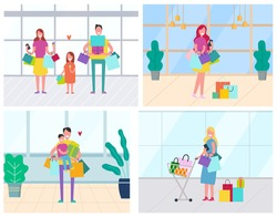 Family shopping in stores vector, man and woman with bags. Buyer with trolley, father and mother with daughter eating ice cream dessert shopaholic