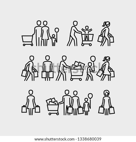 Family shopping vector icons