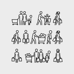 Family shopping vector line icons