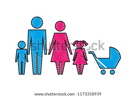 family silhouette and baby cart isolated icon