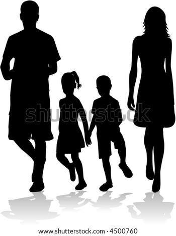 Family silhouette, vectors work