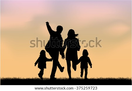 stock-vector-family-silhouettes-in-nature