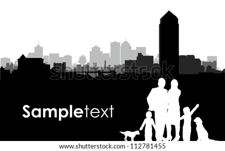 family silhouettes on a cityscape background