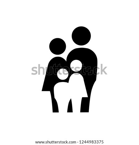 family, simple black and white icon