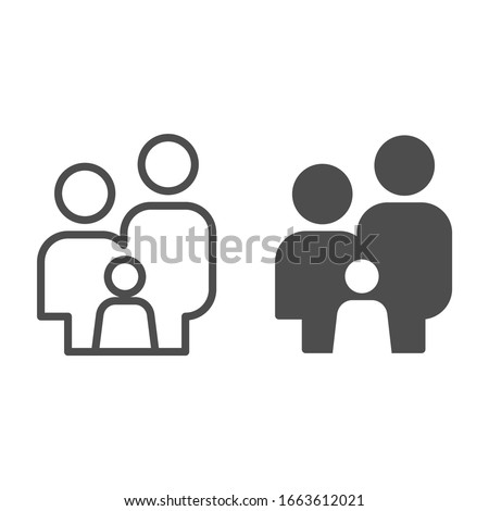 Family simple figures line and solid icon. Parents and child stand together symbol, outline style pictogram on white background. Relationship sign for mobile concept or web design. Vector graphics