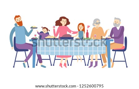Family sitting at dining table. People eat festive food, holiday talking and family dinner reunion or eating christmas supper. Dining father mother, kids and grandparents flat vector illustration