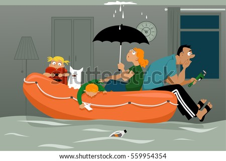 family sitting in an inflatable
