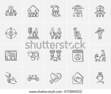 Family sketch icon set for web, mobile and infographics. Hand drawn family icon set. Family vector icon set. Family icon set isolated on white background.