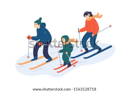 Family skiing together flat vector illustration. Happy parents and child enjoying winter sport cartoon characters. Active lifestyle fans, skiers moving downhill. Wintertime outdoor activities.