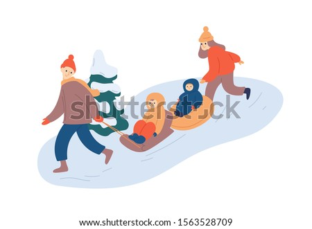 Family sledging fun flat vector illustration. Parents sledding with kids cartoon characters. Winter season outdoor activities. Mother, father and children enjoying active recreation together.